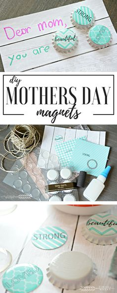 DIY Mothers Day bottle cap magnets with free printable sentiments. Super cute and easy craft. A DIY gift she will love!