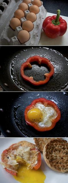 Bell Pepper Rimmed Eggs --- Eat in a sandwich like a McMuffin. Egg, Pepper, Meat (if you like), cheese, maybe add other veggies, and a English Muffin!