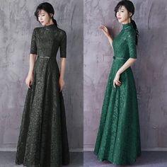 42131f50c5c53 ドレス-ロング レースロングマキシパーティードレス 黒緑 結婚式 二次会 演奏会 ケバヤ