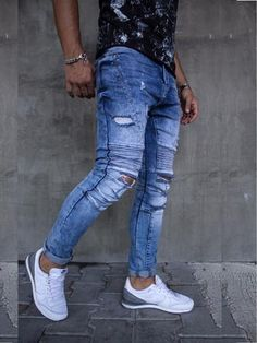 2Y Men Slim Fit Ripped Destroyed Biker Jeans - Blue