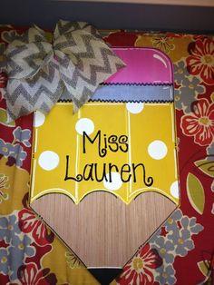 Miss Love's Little Learners Pencil Door Hanger - Cortney Fox - Dekoration Teacher Door Hangers, Teacher Doors, Teacher Signs, Student Teacher, Pencil Door Hanger, Wooden Door Hangers, Wooden Doors, Classroom Door, Little Learners