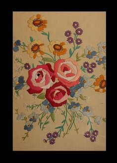 Beautiful Hand Embroidery  Wall Decoration   Rose by DancingThread, $1378.00