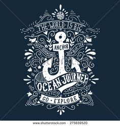 Hand drawn vintage label with an anchor and lettering on blackboard - stock vector