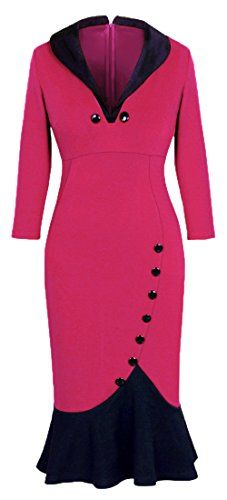 Homeyee® Women's V neck Ball Fishtail Pencil Dress UB27 (US Size 18, Pink) HOMEYEE http://www.amazon.com/dp/B00YDSXM28/ref=cm_sw_r_pi_dp_etQgwb0G1JE6P