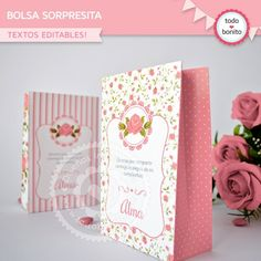 Shabby Chic Rosa: wrappers y toppers Porta Cupcake, Shaby Chic, Tea Packaging, Ideas Para Fiestas, Cupcake Toppers, Party Favors, Birthday Parties, Paper Crafts, Handmade