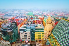 Colorful Vienna from above. Image courtesy of adisa via Getty Images.