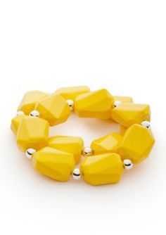 Kim Rogers  Yellow Lucite Double Stretch Bracelet