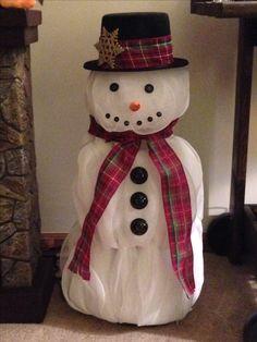 how to make a deco mesh tree with a tomato cage Christmas Makes, Christmas Snowman, Christmas Wreaths, Christmas Decorations, Christmas 2017, Merry Christmas, Snowman Crafts, Christmas Projects, Holiday Crafts