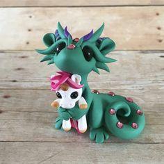 Dragon with Unicorn Plushie by Dragonsandbeasties