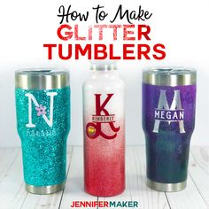 DIY Glitter Tumblers - Step-by-Step Photos & Video Tutorial - Jennifer Maker Glitter Tumbler Tutorial Step by Step From Start to Finish ideas Cricut Diy And Crafts Sewing, Crafts For Girls, Crafts To Sell, Teen Crafts, Sell Diy, Adult Crafts, Diy Crafts Videos, Craft Tutorials, Craft Projects