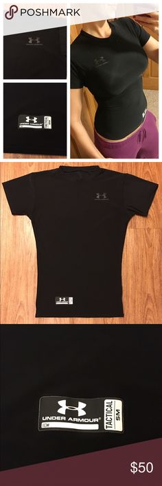 "Under Armour tactical tight fitting top 📦 Same day shipping (excluding Sun/holidays or orders placed after P.O. Closed) ❓Please ask any questions prior to buying. I want you to be 💯% Happy❣  PRICE FIRM unless bundles. This tight fitting tactical top from Under Armour is in excellent condition. All logos are in tact and there are no holes or stains. Smoke/pet free home. Last photo: my measurements for reference. Flat measurements: 15"" across chest, 22.5"" long and 12"" across bottom hem…"