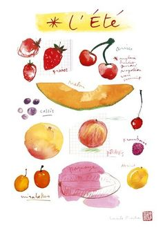Set of 4 seasonal fruit prints by Lucile's Kitchen $65 for the set