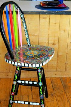 Funky Hand Painted Bar Stool/ Furniture/ Dot By Dannimacstudios