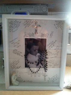 JJ's 1st Communion shadow box...turned out great (: