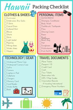 What to pack to Hawaii? Here's a perfect checklist for you and the family! (Printable!)   Wanderlustyle.com