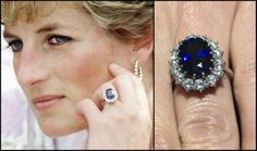 The ever famous ring was personally chosen by Diana from a selection presented to her by Garrard Jewelers, making it an unusual royal choice because anyone could purchase it from the Garrard catalog at the time. A large, oval 12 carat sapphire is surrounded by a cluster of 14 diamonds set in 18 karat white gold.