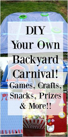 Backyard Carnival Birthday Party - - DIY Your Own Backyard Carnival! This link has TONS of really great ideas that would be CHEAP to copy! This would be great for block parties, school parties or birthday parties! Backyard Carnival, Fall Carnival, Circus Carnival Party, Kids Carnival, Halloween Carnival, Carnival Ideas, Backyard Games, Outdoor Games, Carnival Activities