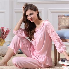 Sexy pajamas suit ladies summer round neck lace big yards home service comfortable princess sleeves 2017 new products