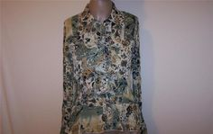 VIOLET & CLAIRE Shirt Blouse M Crinkled Floral Ruffled Long Sleeves Womens #VioletClaire #ButtonDownShirt #Career