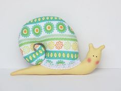 Stuffed snail softie toy  plush snail green by HappyDollsByLesya