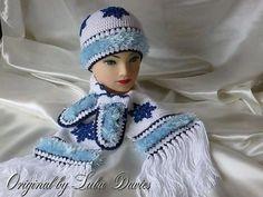 Russian Winter Crochet Hat Set
