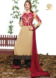 Classy Cream And Black Faux Georgette Embroidery Work Anarkali Pakistani Dress http://www.angelnx.com/