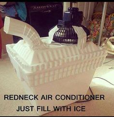 I like this, I don't know if that makes me a redneck. Low tech air conditioner...