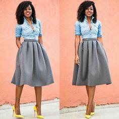 Instagram post by folake huntoon stylepantry trench style denim shirt x full midi skirt ps and her fabulous hair pmusecretfo Gallery