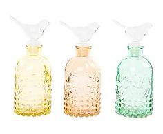 Set de 3 botellas de cristal Pájaro