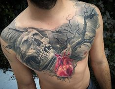 Heart & Skull Chest Tattoo