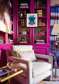 Radiant Orchid   Bookcase Idea   Living Room   Jewel Tones   Color Trend   Home Decor   Interior Design