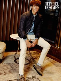 Kim Young Kwang Stays Warm With HAZZYS For L'Officiel Hommes