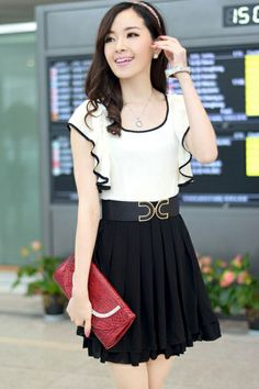 Lady-chic Peplum Chiffon Dress
