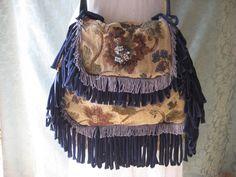 Gypsy Tapestry bag purse, floral bohemian navy fringe crossbody bag. $140.00, via Etsy.