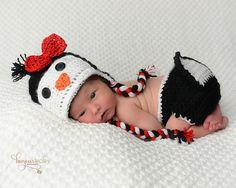 Penguin Newborn Prop/Newborn Photo Prop  Penguin Hat and Diaper Cover with Tai/Holiday Prop/ Baby Penguin Set on Etsy, $35.00