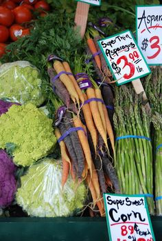 Produce at Pike Place Market, Seattle. you took a picture of carrots. congratulations.