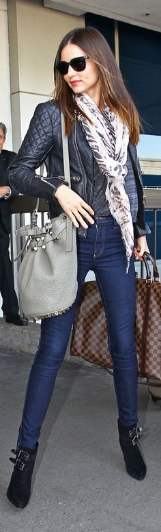 Miranda Kerr, Alexander Wang bag, Louis Vuitton duffel, scarf, so chic