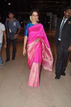 Kangana Ranaut in Payal Khandwala Saree. Latest Indian Saree, Indian Sarees Online, Indian Beauty Saree, Indian Attire, Indian Wear, Indian Outfits, Indian Clothes, Indian Dresses, Ethnic Sarees