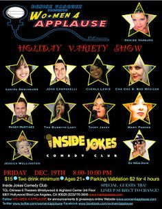 WO+MEN 4 APPLAUSE: Tickets Now Available Online For WO+MEN 4 APPLAUSE™ ‪Holiday‬ Variety Show December 19th 8:00-10:00 PM At Inside Jokes Comedy Club & Lounge