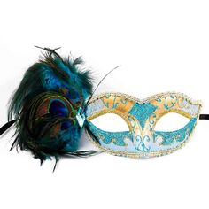 Gold Masquerade Mask, Aqua Blue Feathers, Masquerade Ball Mask,... ($15) ❤ liked on Polyvore featuring costumes, gold costume, peacock halloween costume, ball costume, peacock costume and gold halloween costumes