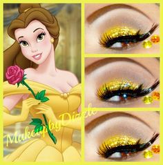Two crystals and glitter accent yellow and brown eye shadow inspired by Disney's Belle.