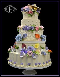 Flowers in Bloom Wedding Cake