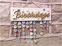 *Birthday Reminder Plaque* £18.95, free UK p&p and overseas p&p available...just add family/friends names and birthdates on the supplied tags under each month and never forget a birthday again! Handmade by The English Rose Jewellery Shop @ www.facebook.com/TheEnglishRoseJewelleryShop #Birthday #Reminder #Plaque #Custom #Handmade #Family #Gold #Cream #Flowers #Tags #Pink #Blue #Yellow