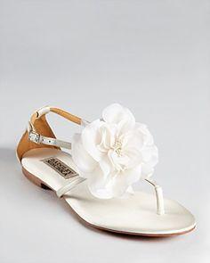 Badgley Mischka Sandals - Zowie Flat Flower | Bloomingdale's