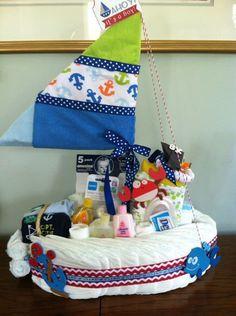 Nautical by Nature: Nautical Baby Shower diaper cake