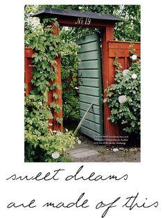 Garden Oasis, Garden Cottage, Summer House Garden, Home And Garden, Garden Gates And Fencing, Fences, Swedish Cottage, Sweden House, Garden Hedges