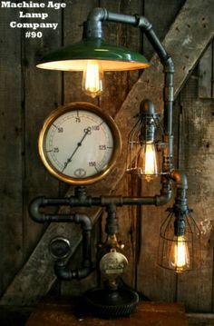 Steampunk Lamp Industrial Art Machine Age Salvage Steam Gauge Light Nautical
