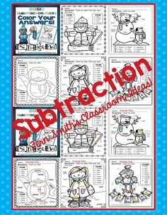 Fern Smith's Classroom Ideas Winter Fun! Basic Subtraction Facts - Color Your Answers Printables #TPT $Paid