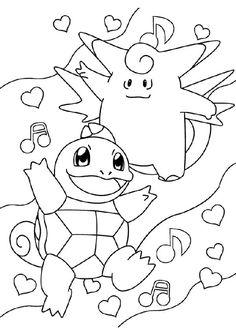 A colorier, les beaux Pokémons Carapuce et Mélofée