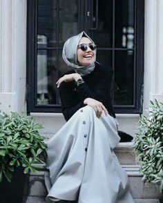 Grey skirt, black shoes, black skirt, grey scarf, watch, gold ring
